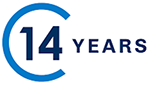 Blue icon of a semicircle with the number 14 inside, followed by the word 'YEARS' to indicate fourteen years of business