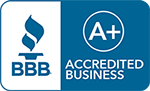 Blue icon showing QCGeneral's A+ rating from the Better Business Bureau, or BBB