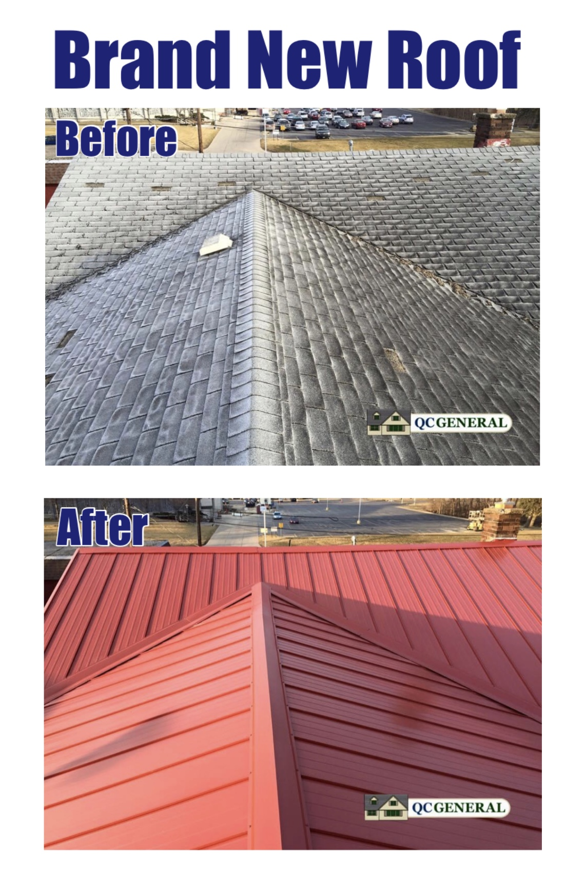 Images of new roof work completed by QC General, where the roof is transformed from faded black shingles to a sturdy metal red roof.