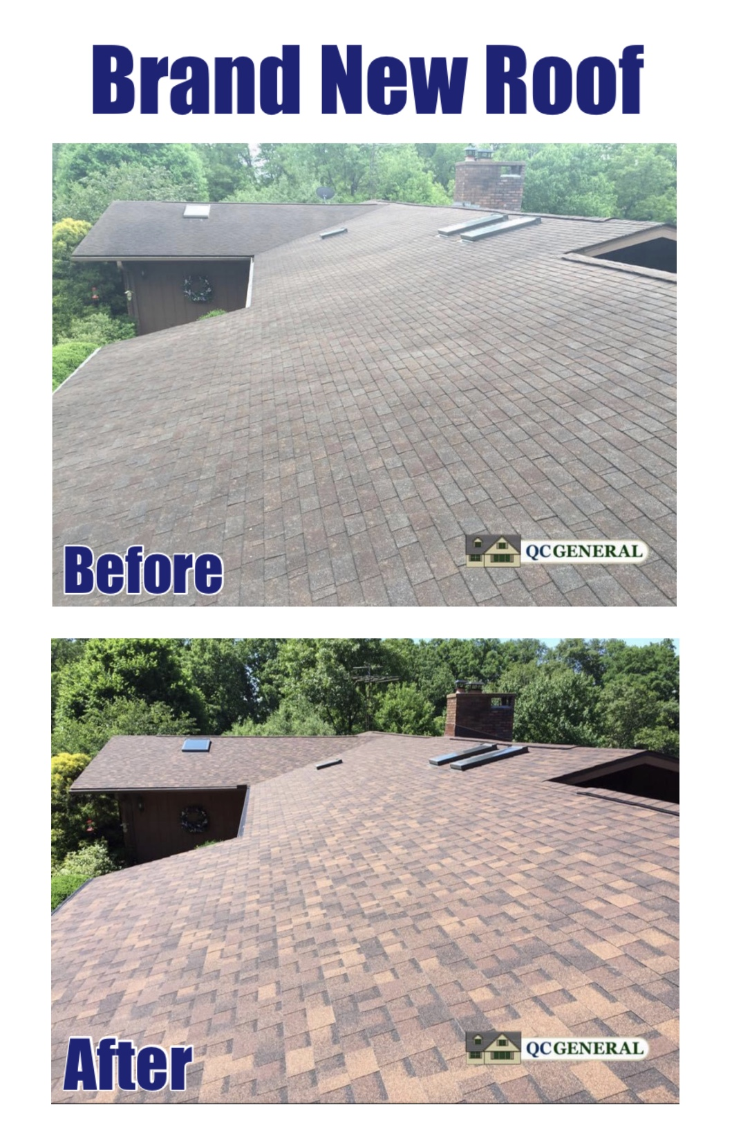 Images of new roof work completed by QC General, highlighting how the roof is now more vibrant and sturdy.