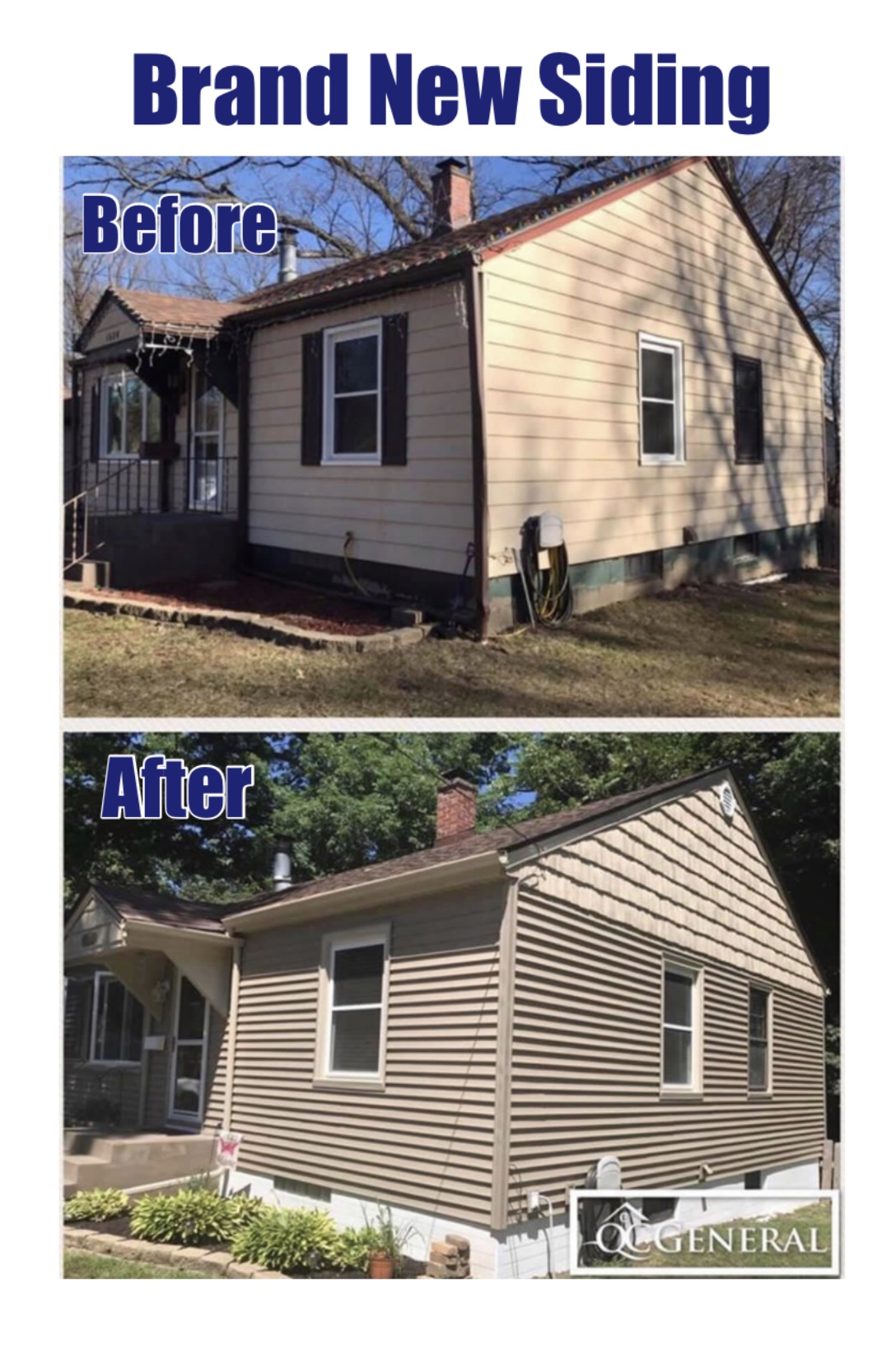 Images of new siding work completed by QC General, highlighting how the siding is now sturdier and more pleasing to look at.